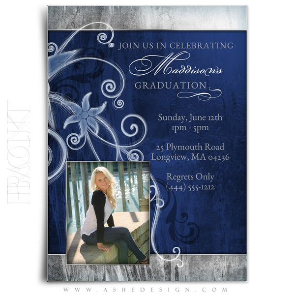 Girl Graduation Invitation | Blue Steel back