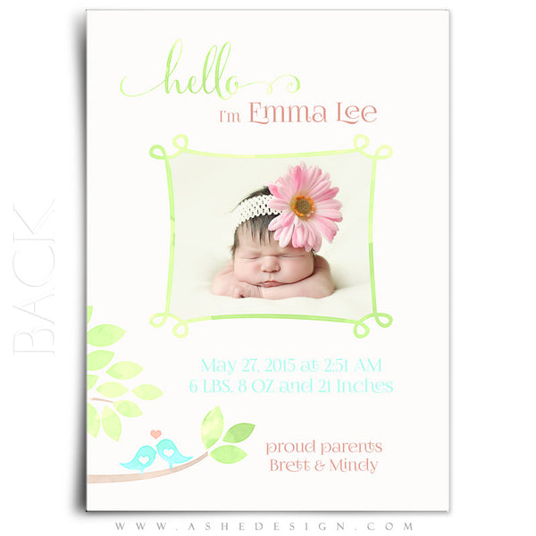 Birth Announcement 5x7 | Watercolor Baby Emma back