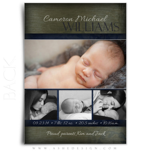 Boy Birth Announcement Templates | Cameron Michael  back