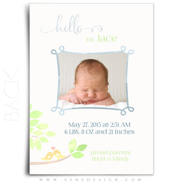 Birth Announcement 5x7 Flat | Watercolor Baby Jace back