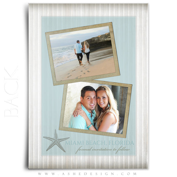 Save The Date Photography Templates | By The Seashore back