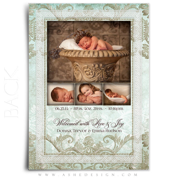 Tiffany Damask 5x7 Flat Birth Announcement Template back