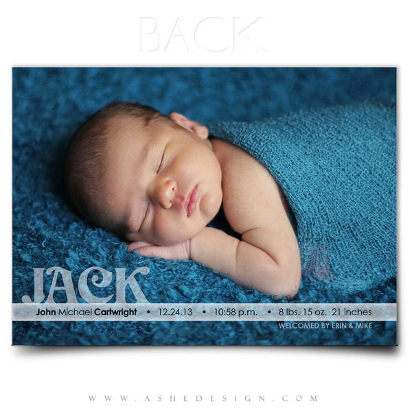 Welcome Little One - 5x7 Flat Card Back web display