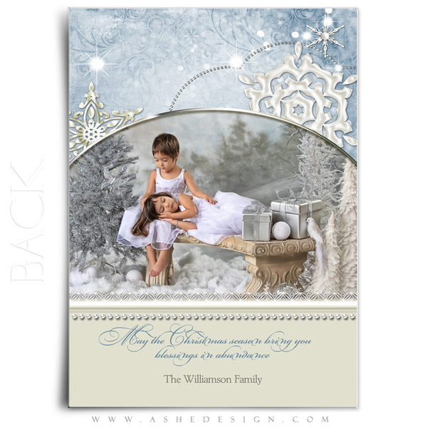 Christmas Card Template | Snow Dust Pearl back