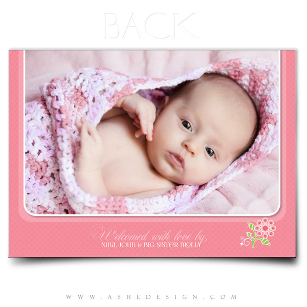 Birth Announcement 5x7 Flat | Bella Rose back