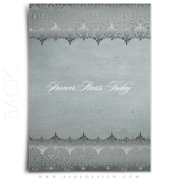 Antique Damask Wedding Invitation Template back