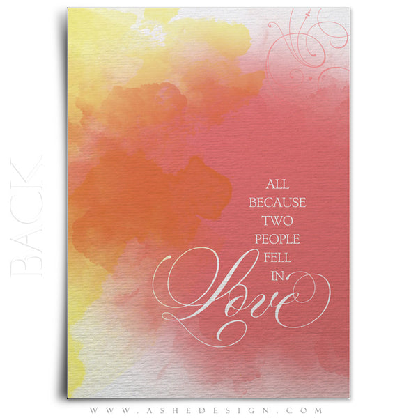 Watercolor Wedding Invitation Template back