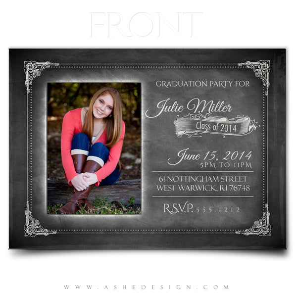 Chalkboard Sr Girl 2014 - 5x7 Flat Card front web display