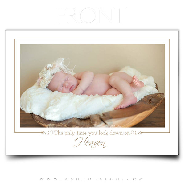 5x7 Birth Announcement | Looking Down On Heaven front
