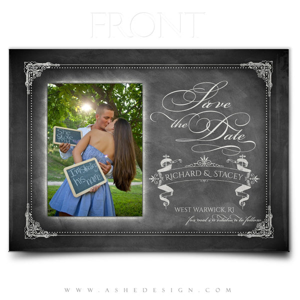 Save The Date Photography Templates | Chalkboard front