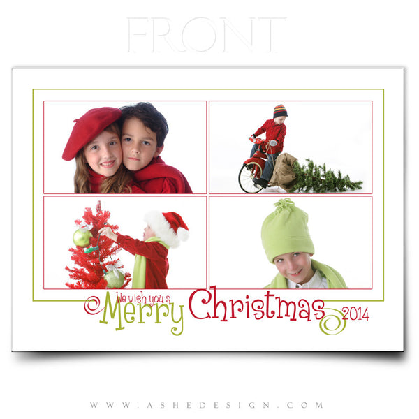 Christmas Card Photoshop Templates | We Wish You A Merry Christmas front