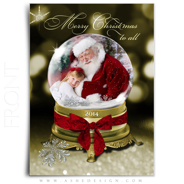Christmas Card Photoshop Templates | Golden Globe front