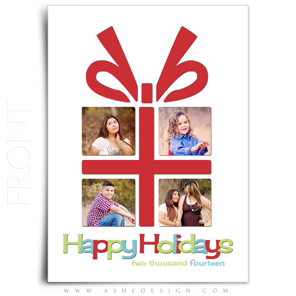 Christmas Card Photoshop Templates | The Gift front