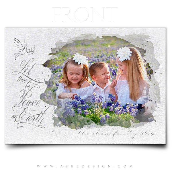 Christmas Card Photoshop Templates | Let There Be Peace front