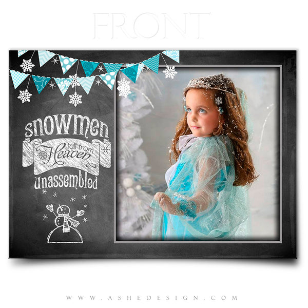 Christmas Card Photoshop Templates | Chalkboard Snowmen front