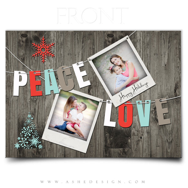 Christmas Card Photoshop Templates | Holiday Pennant front