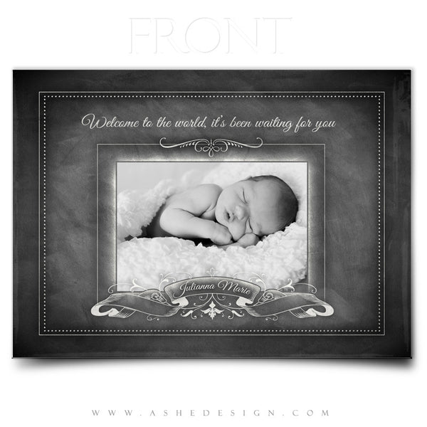 Chalkboard Baby Girl 5x7 Flat Birth Announcement Front web display