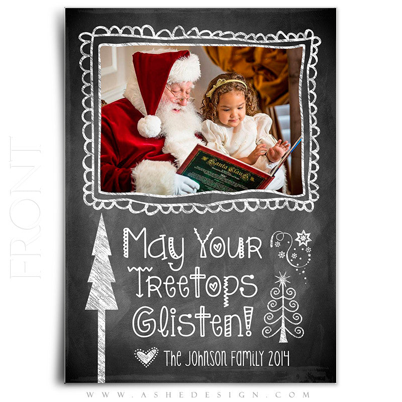 christmas card photoshop templates chalkboard doodle frames front
