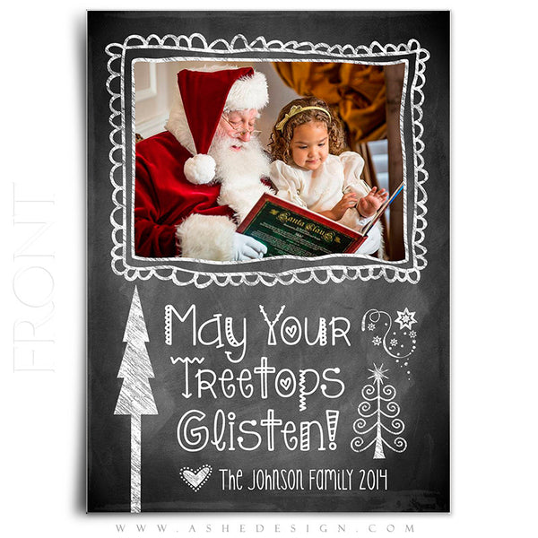 Christmas Card Photoshop Templates | Chalkboard Doodle Frames front