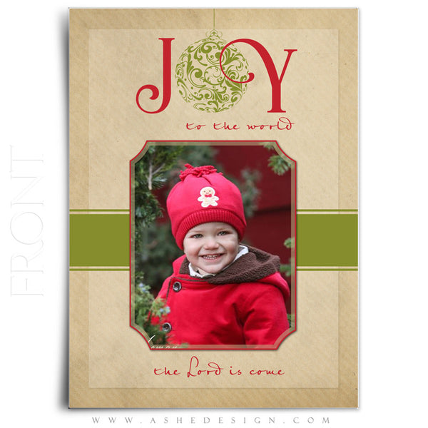 Christmas 5x7 Flat Card Templates | Joy To The World front