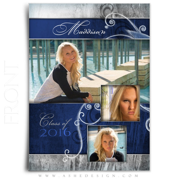 Girl Graduation Invitation | Blue Steel front