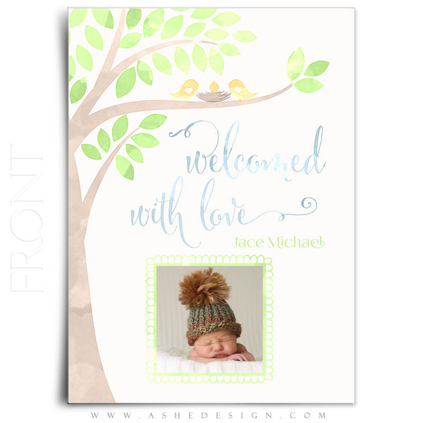 Birth Announcement 5x7 Flat | Watercolor Baby Jace front