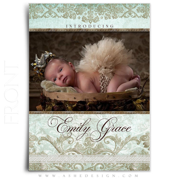 Tiffany Damask 5x7 Flat Birth Announcement Template front
