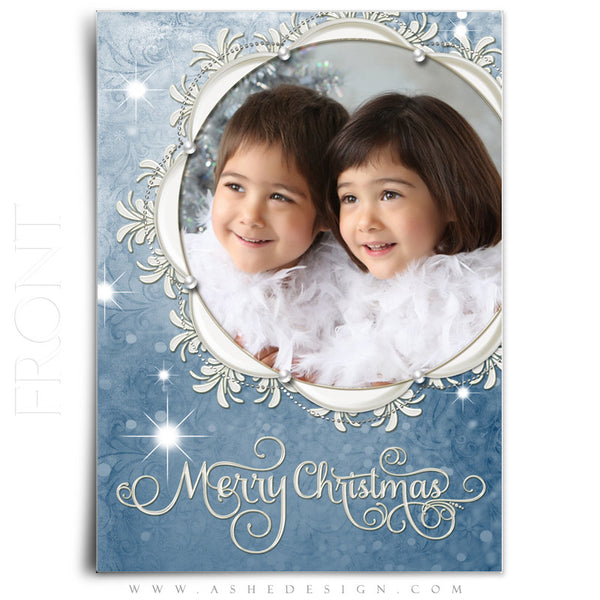 Christmas Card Template | Snow Dust Pearl front