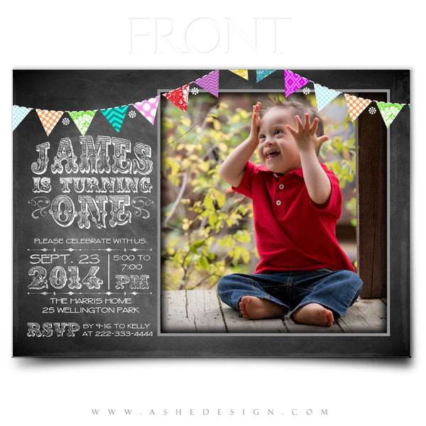 First Birthday Invitation Templates | Chalkboard Banner front