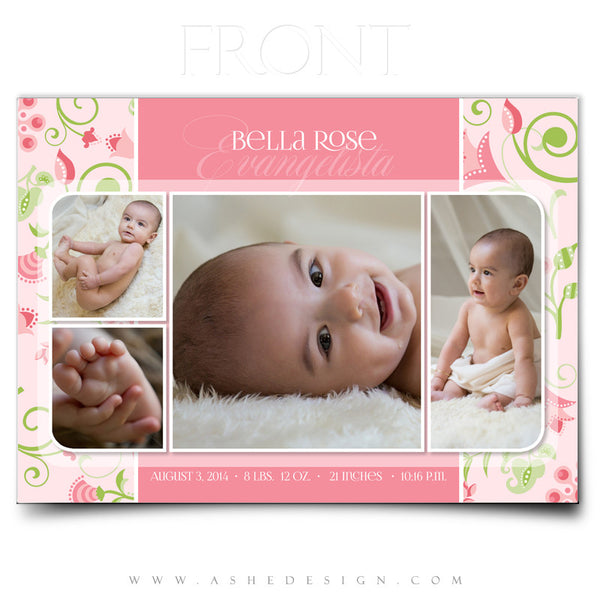 Birth Announcement 5x7 Flat | Bella Rose front