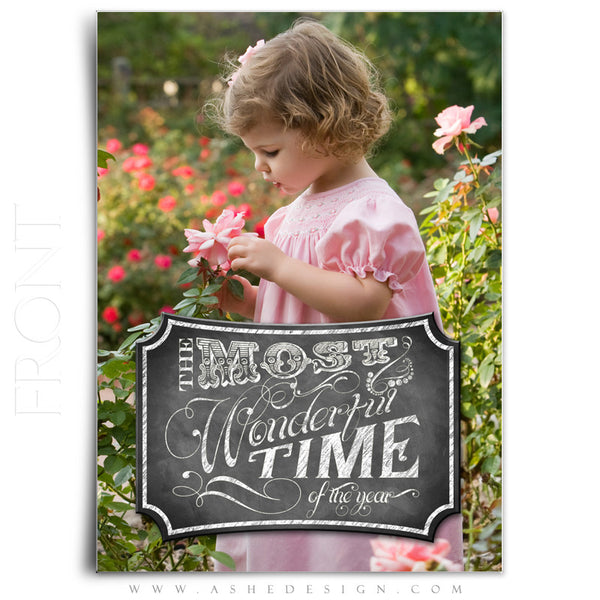Most Wonderful Time Holiday Card Template Front