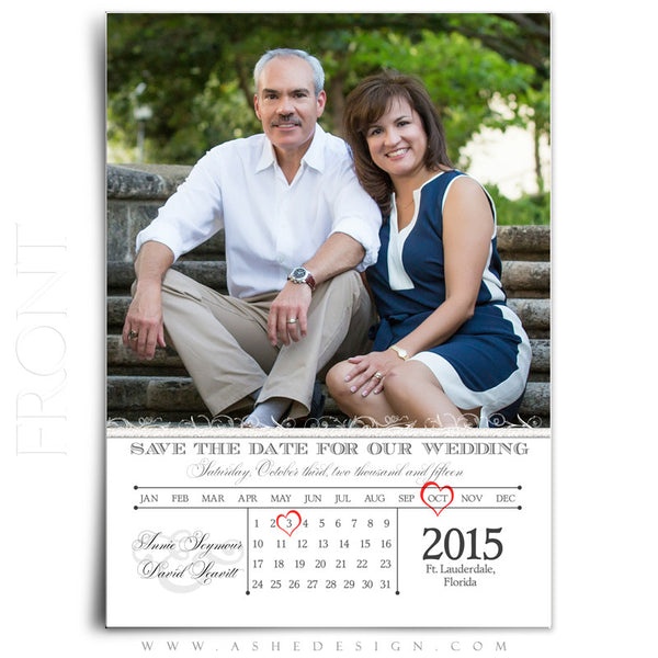 Save The Date Templates | Heart Calendar front