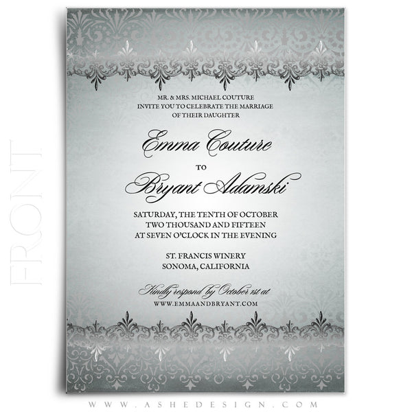 Antique Damask Wedding Invitation Template front