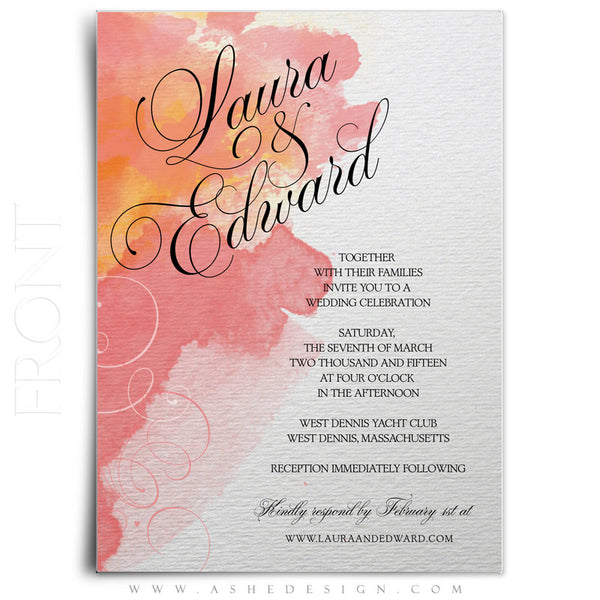 Watercolor Wedding Invitation Template front
