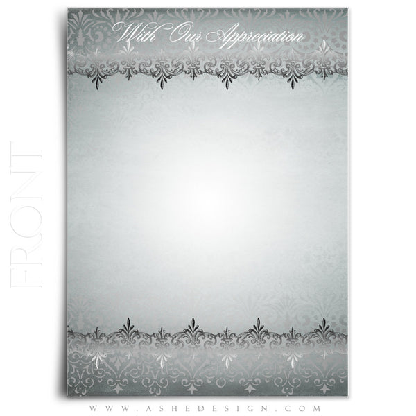 Antique Damask Wedding Thank You Template front