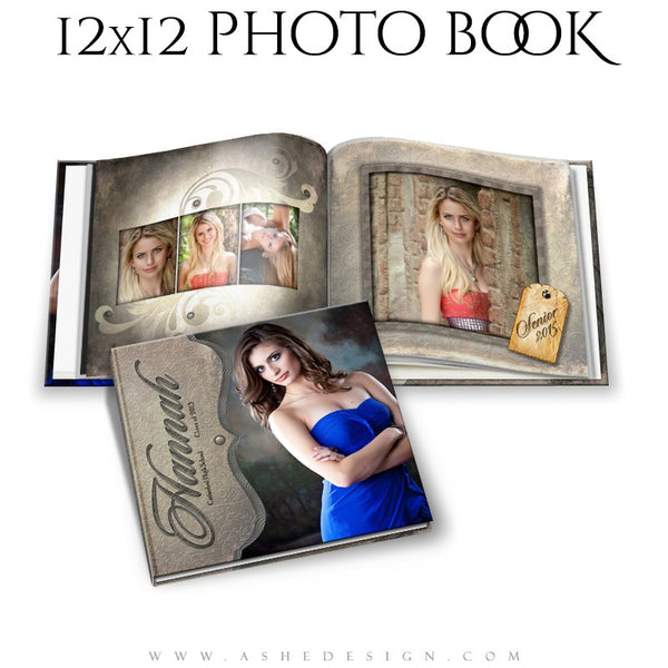 Photo Book 12x12 Template | Embossed open book