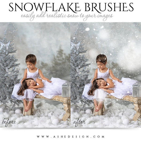 Ashe Design | Photoshop Brush Set | Realistic Snowflakes example 1