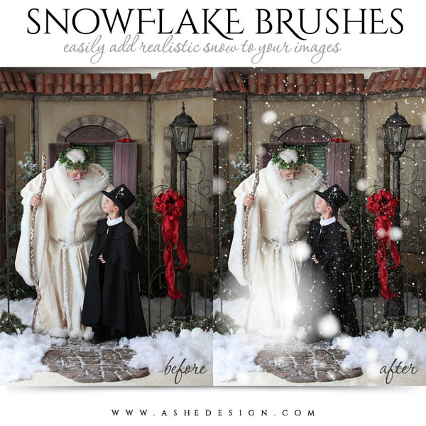 Ashe Design | Photoshop Brush Set | Realistic Snowflakes example 2