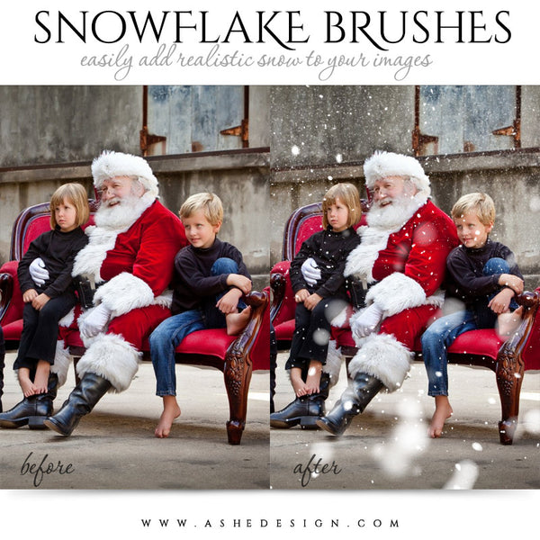 Ashe Design | Photoshop Brush Set | Realistic Snowflakes example 3