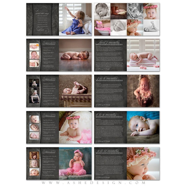 Photoshop 12x12 Photo Book | Chalkboard Baby's First Year Journal pages