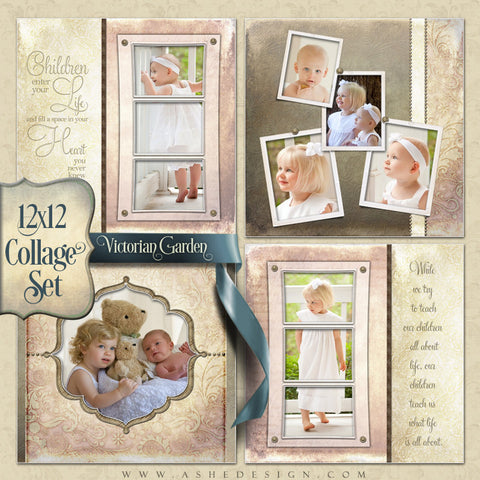 Collage Template Set (4) 12x12s | Victorian Garden
