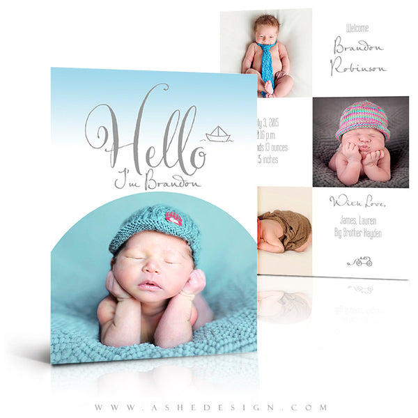 Birth Announcement 5x7 Flat | Simply Baby Brandon