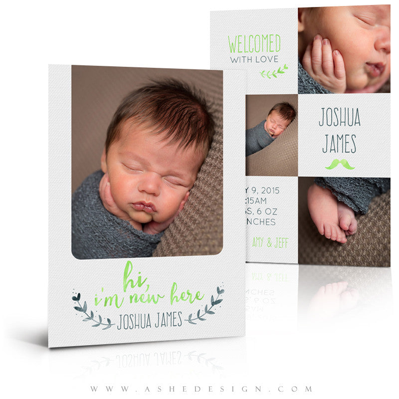 Birth Announcement 5x7 | Simply Baby Joshua 3d
