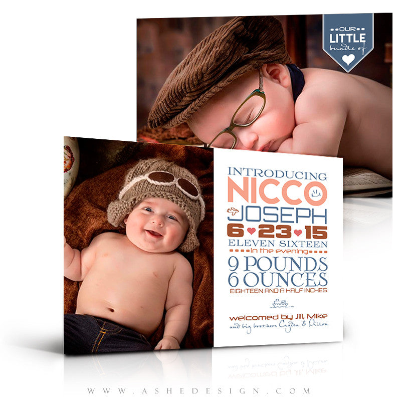 Birth Announcement 5x7 Flat | Simply Baby Nicco