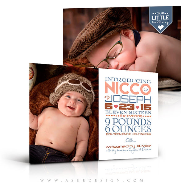 Birth Announcement 5x7 | Simply Baby Nicco