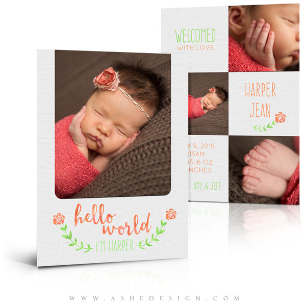 Girl Birth Announcement 5x7 | Simply Baby Harper 3d