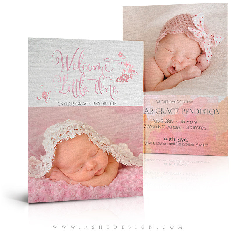 Birth Announcement 5x7 | Simply Baby Skylar