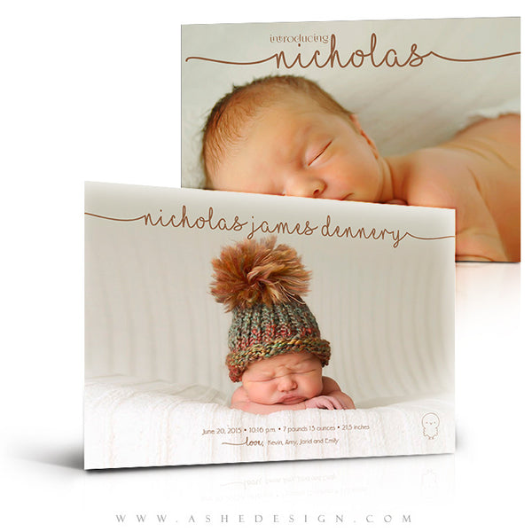 Birth Announcement 5x7 | Simply Baby Nicholas 3d