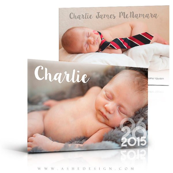 Birth Announcement 5x7 | Simply Baby Charlie 3d