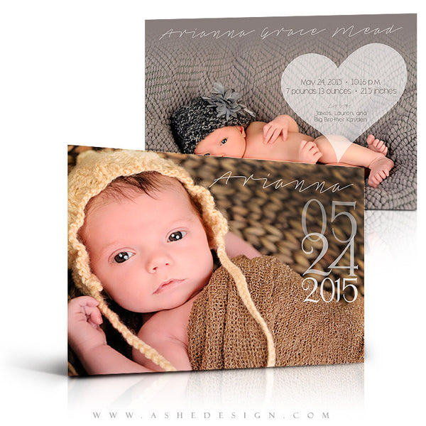 Birth Announcement 5x7 | Simply Baby Arianna 3d